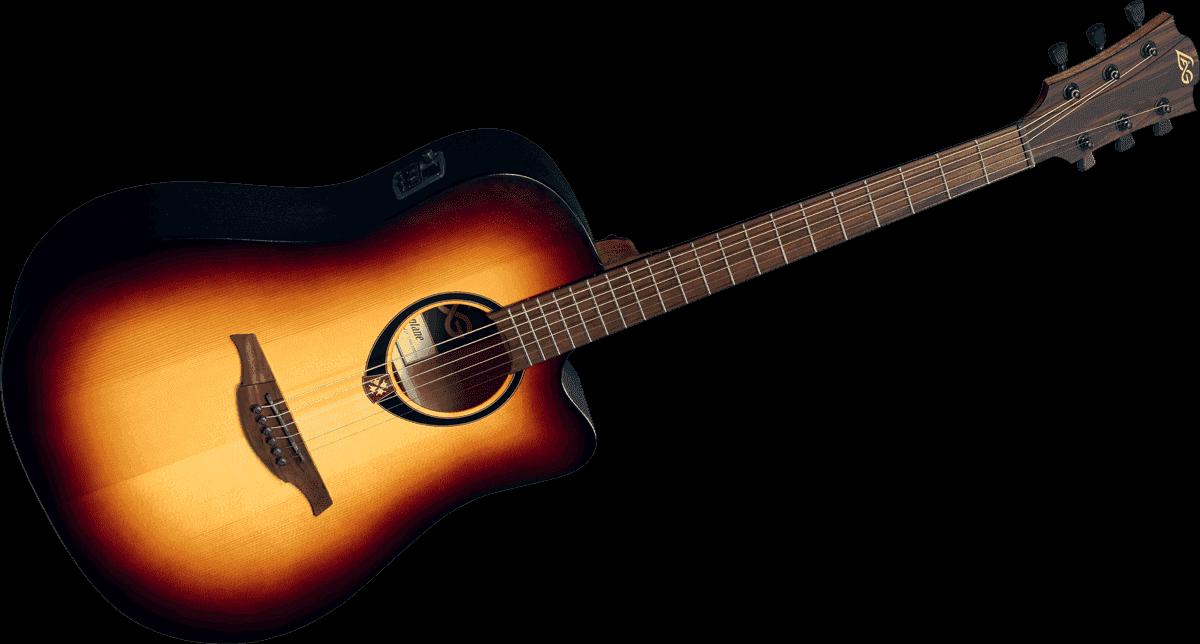 Guitare-Lag-T70DCE-Brown-Burst